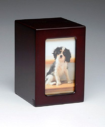 Pet Urn Peaceful Pet Memorial Keepsake Urn,Photo Box Pet Cremation Urn,Dog Urn,Cat Urn,Small Animal Urn, Size,Medium, Color,Cherry, 25 -