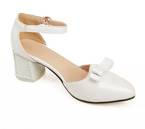 Amoonyfashion Femme Solide Pu Chaton Talons Point Fermé Fermé Orteil Boucle Chaussures Chaussures Blanc
