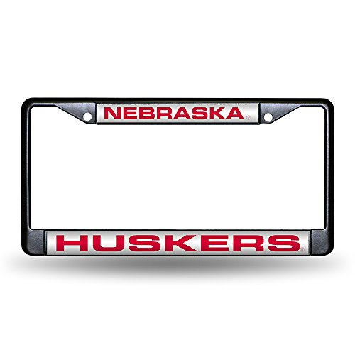 Huskers Chrome License Plate Frame (Rico nebraska-cornhuskers-laser-black-license-plate-frame)