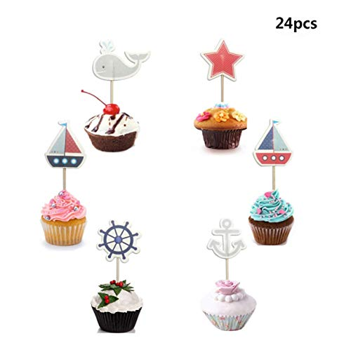 Maydolbone 24Pcs Nautical Cupcake Toppers ,Food Picks Baby Shower Decor and Cupcake Party -