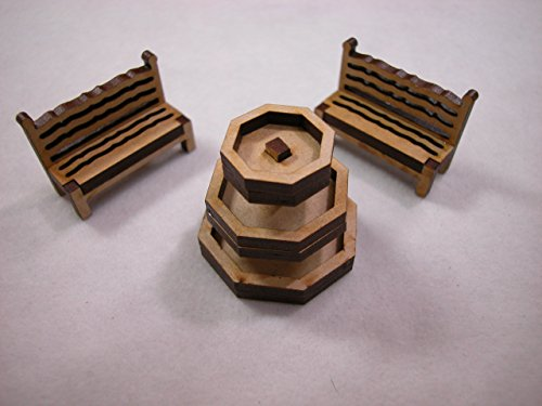 "Dollhouse Miniature 1.5""x1.5"" Laser Cut Wooden Patio Fountain Set w/Benches #Z294 from Mini Bear Gems"