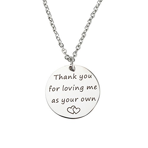 Stepmom Wedding Gift Thank You for Loving Me As Your Own Disc Pendant Necklace Mother's Day Gift for Stepmother (Necklace - 1)