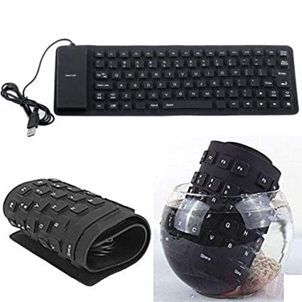 WireScorts Silicone Flexible Soft Roll-up Waterproof Portable USB Wired  Keyboard for PC Notebook Laptop (Black, Foldable Wired Keyboard - Black)