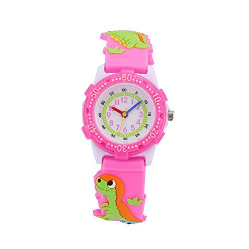 Watch Pink Plastic (Children Kids Toddler Watches Age 4-7 Time Teacher Watches, Cartoon Character 3D Dinosaur Silicone Band Watches (Pink - Plastic Shell))