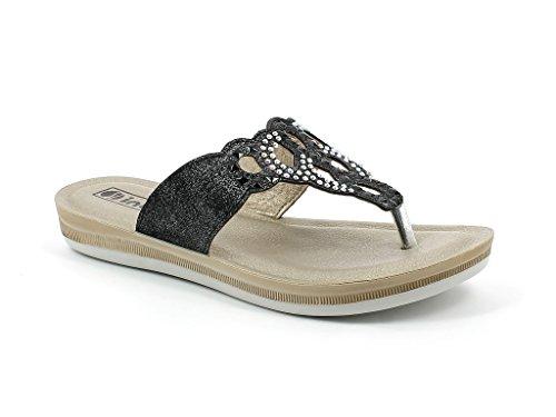 Sandales Femmes Chaussures Diamante Été Dames Décontractée Confort sur Taille Jours Post Les Plates Glisser Noir Tous Toe AA7wgTq