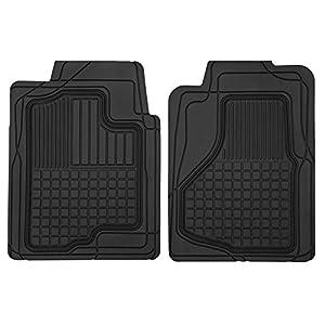 "Motor Trend MT-150-BK Black 28""(L) x 21""(W) All Weather Semi-Custom Heavy Duty Rubber Floor Mats for Auto Car Truck SUV (2 Front Mats)"