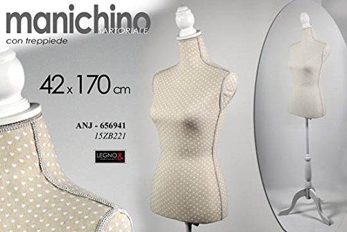 MANICHINO BUSTO SARTORIALE CON TREPPIEDE 42x170 CM COD.656804