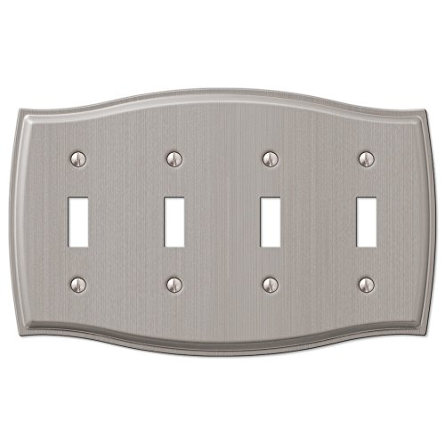 (4 Quad Toggle Switch Wall Plate Cover - Brushed Nickel)