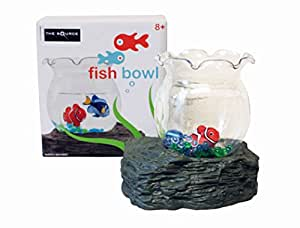 Magnetic moving fish in bowl with artificial for Fish bowl rocks