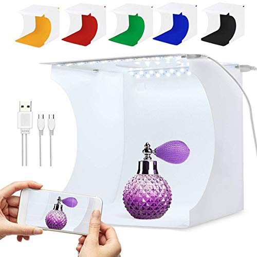 SLOW DOLPHIN Portable Photo Studio Box for Jewellery and Small Items Portable Folding Photography Studio Box Booth Shooting Tent Kit(2x20 LED Lights 6 Colors Backdrops (Box Online Jewelry)