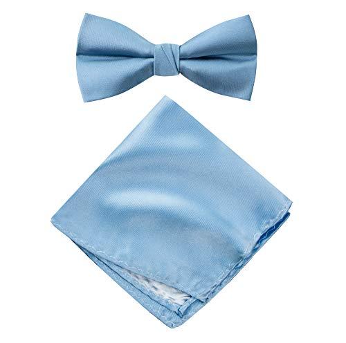 Spring Notion Men's Solid Color Satin Microfiber Bow Tie and Hankerchief Set Steel Blue