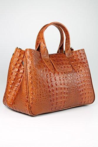 Belli® Esclusivo Ital. Borsa In Vera Pelle Color Cognac Marrone Croco Goffratura - 36x25x18 Cm (lxxx)
