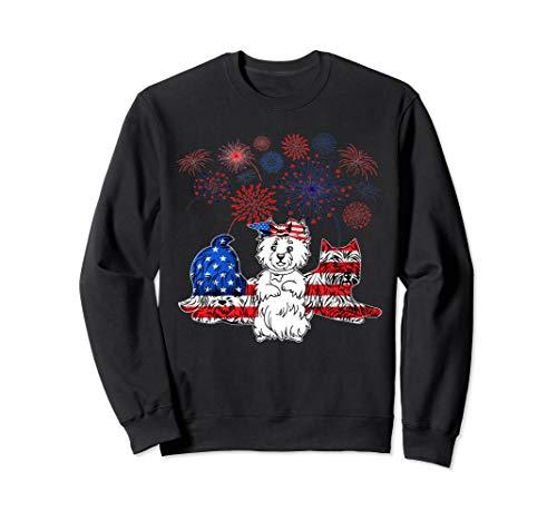 (Westie 4th Of July America Flag T-Shirt Men Women Gifts Sweatshirt)
