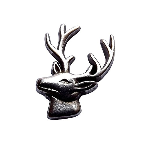 Elk Head Cutout Sterling Plated Screwback Concho with a Hand Rubbed Antique Finish ()
