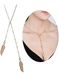 Charm Necklace Double Feather Pendants Bohemian Boho Lariat Style Dangle Women Delicate Jewelry Chain - Silver...