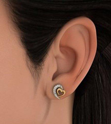 14K Or jaune 0.11CT TW White-diamond (IJ | SI) Boucles d'oreille à tige