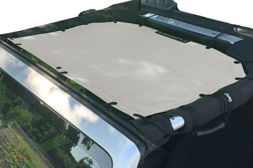 Alien Sunshade Jeep Wrangler Mesh Shade Top Cover with 10 Year Warranty Provides UV Protection for Front Passengers 2-Door or 4-Door JK or JKU (2007-2017) (Sand) by Alien Sunshade