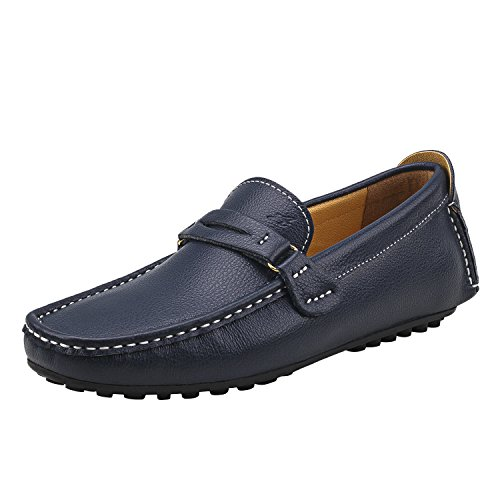 Shenduo Men's Loafer Flats Leather Moccasins Boat Slippers Driving Shoes D3328 Black/Coffee/Blue/Beige Blue 1OUEowq