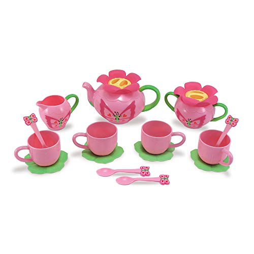 Melissa & Doug Bella Butterfly Pretend Play Tea Set (Pretend Play, Food-Safe Material, BPA-Free, Durable Construction, Great Gift for Girls and Boys - Best for 3, 4, and 5 Year Olds) (Tea Set Unbreakable)