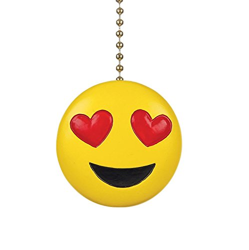 Clementine Designs Heart Eyes Smiling Emoji Decorative Ceiling Fan Light Dimensional Pull by Clementine Designs