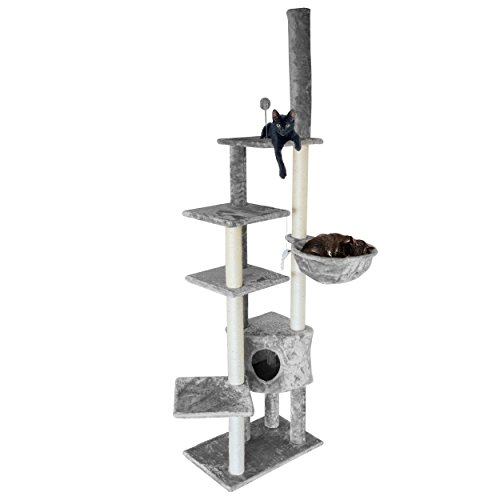 FurHaven Pet Cat Tree | Tiger Tough Cat Tree House Furniture for Cats & Kittens, Skyscraper Playground, Gray - Optional Mouse Platform