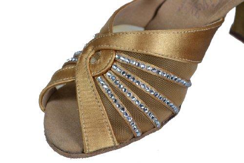 Ladies Women Ballroom Dance Shoes for Latin Salsa Tango Signature S2805 Tan Satin Rhinestone EK11001 2.5'' Heel (7.5)