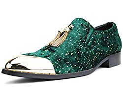 Velvet Loafer with Metal Gold Chain Tassel
