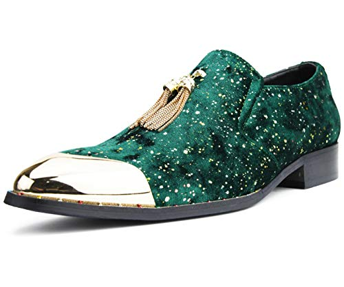 Amali Mens Metallic Speckled Velvet Loafer with Metal Gold Chain Tassel & Matching Gold Metal Tip,Smoking Slipper Dress Shoe, Style Chaz, Hunter Green Size 9.5 (Shoes To Wear With Emerald Green Dress)