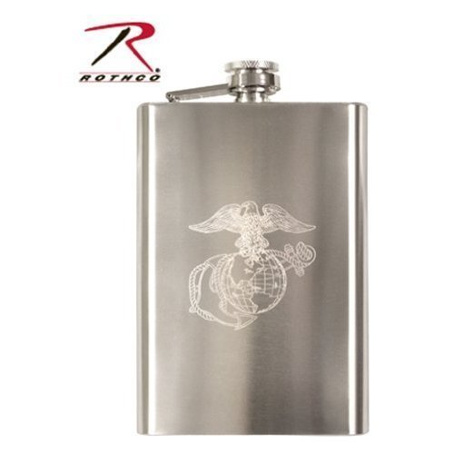 Rothco Engraved Stainless Steel Flasks, Emblem : Marines