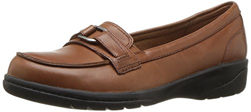CLARKS Women's Cheyn Marie Slip-on Loafer, Tan Leather, 7.5 M US - Womens Brown Loafers Shoes