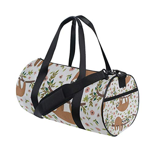 Floral Quilted Bag - Sloth On Tree Floral Travel Duffle Bag Sports Luggage with Backpack Tote Gym Bag for Man and Women