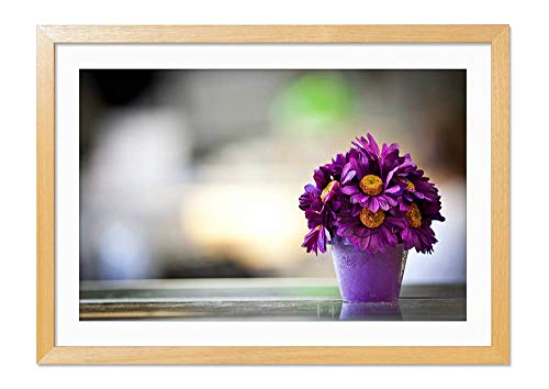CU.RONG Flower Pot Purple Petals Wood Frame Poster Home Art Deco Picture Print Framed Painting(16x24 in Wood Colour Frame)