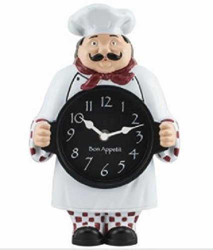 1520G Geneva Clock Company Chef Wall / Tabletop Analog Clock (Wall Chef Clock)