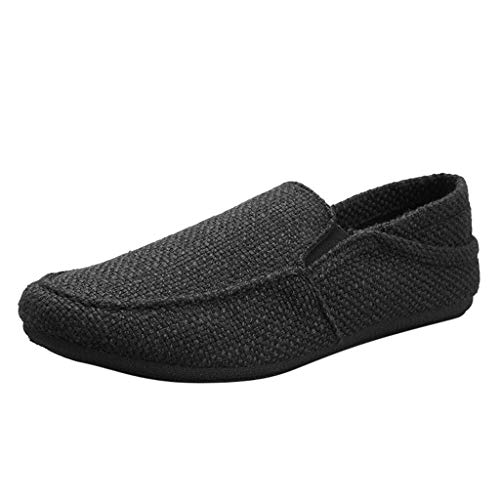 ✦◆HebeTop✦◆ Men's Casual Espadrilles Loafers Flats Shoes Breathable Slip-on Canvas Sneaker Black -