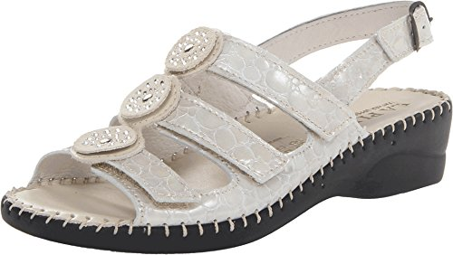 4 Sandal Reptile - Women's LaPlume, Emerald casual low heel Sandals IVORY REPTILE 4 M
