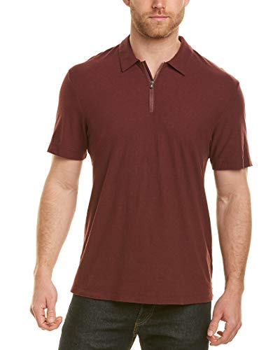 James Perse Mens Zip-Front Linen-Blend Polo, 2, Red ()