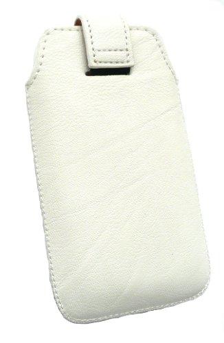 Emartbuy® Eingabestift Pack Für Apple Iphone 5 5s Weiß Pu Leder Secured Slide In Pouch / Case / Sleeve / Holder (Größe 1) Mit Pull Tab Mechanism + Metallic Mini Silber Eingabestift + Lcd Displayschutz