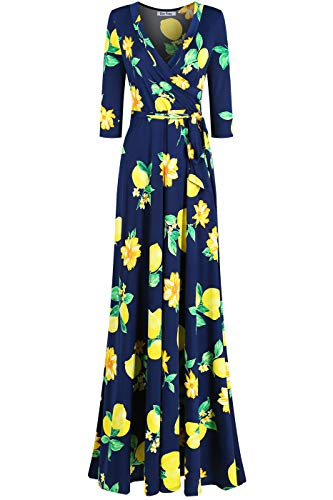 (Bon Rosy Women's #MadeInUSA 3/4 Sleeve V-Neck Printed Maxi Faux Wrap Mothers Day Floral Dress Navy L)