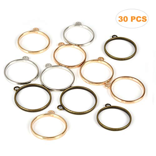 - LANBEIDE 30PCS Round Open Back Bezel Pendant for Pressed Flower, Resin, PolymerRound Open Back Bezel Pendant with 1 Loop for Jewerry Making 25 mm/ 1 inch (Antique Bronze, Silver, Gold)