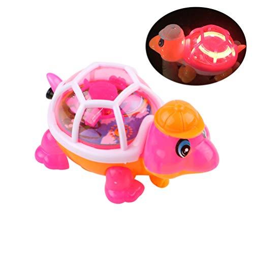 Toyvian Pull String Turtle Educational Flashing Light -Emitting Lovely Funny Turtle Toys for Children Kids