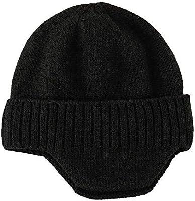 Home Prefer Mens Winter Knit Earflap Hat Cuffed Beanie with Ears Warmer Black