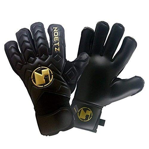 NoetZ Soccer Kids Youth Adult Goalie Goalkeeper Gloves Balck Negro, Finger Protection New4+1 Design, Premium quality feather light, breathable design with extraordinary grip, comfort.