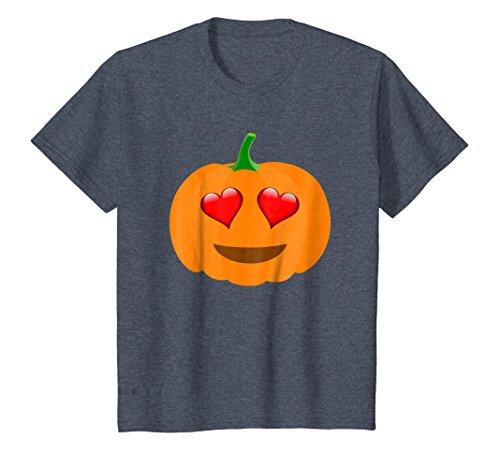 Kids Heart Eyes Pumpkin Smiley Face - Halloween T-Shirt 12 Heather Blue -