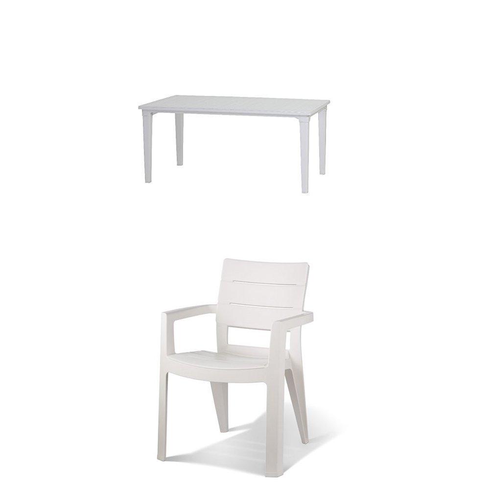 Keter - Set de mobiliario Futura (mesa + 4 sillas), color blanco ...