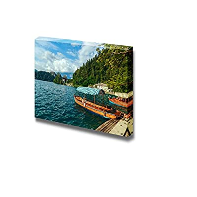Beautiful Scenery Landscape Traditional Wooden Boats Pletna on Lake Bled SloveniaEurope - Canvas Art Wall Art - 12