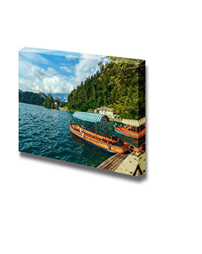 Beautiful Scenery Landscape Traditional Wooden Boats Pletna on Lake Bled Slovenia Europe Wall Decor ation