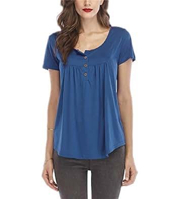 Women's Short Sleeve Round Spilt Neck Pleated Button Details Tunic Shirt Top(Cambridge Blue / 5XL)