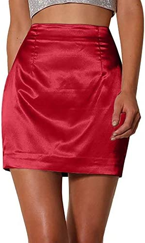 QBXDQ Falda Corta Faldas Cortas para Mujer Moda para Mujer Rojo ...