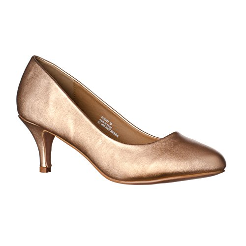 Riverberry Women's Ruby Round Toe Kitten Low Heel Pumps, Rose Gold PU, 10 Sexy Gold Pu Women Shoes