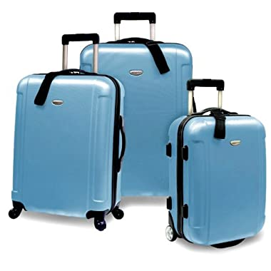 Traveler's Choice Freedom 3-Piece Lightweight Hard-Shell Spinning Rolling Luggage Set, Arctic Blue